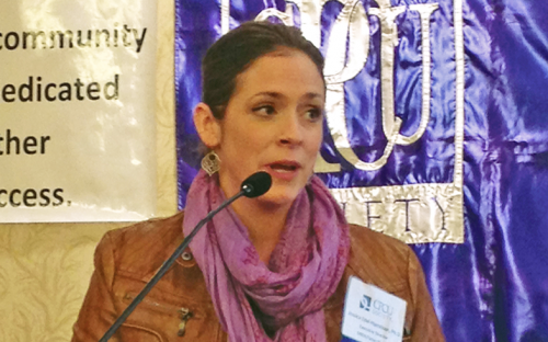 Jessica Edel-Harrison, executive director of SIREN/Eaton Shelter and December's guest speaker.